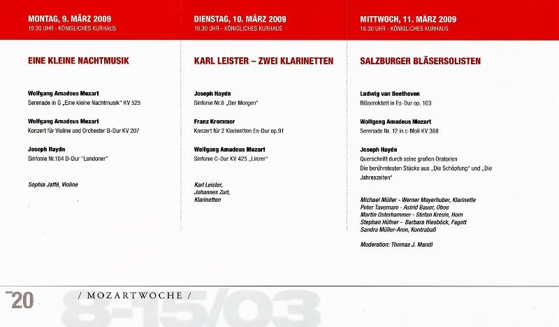 Mozart Programm 2009